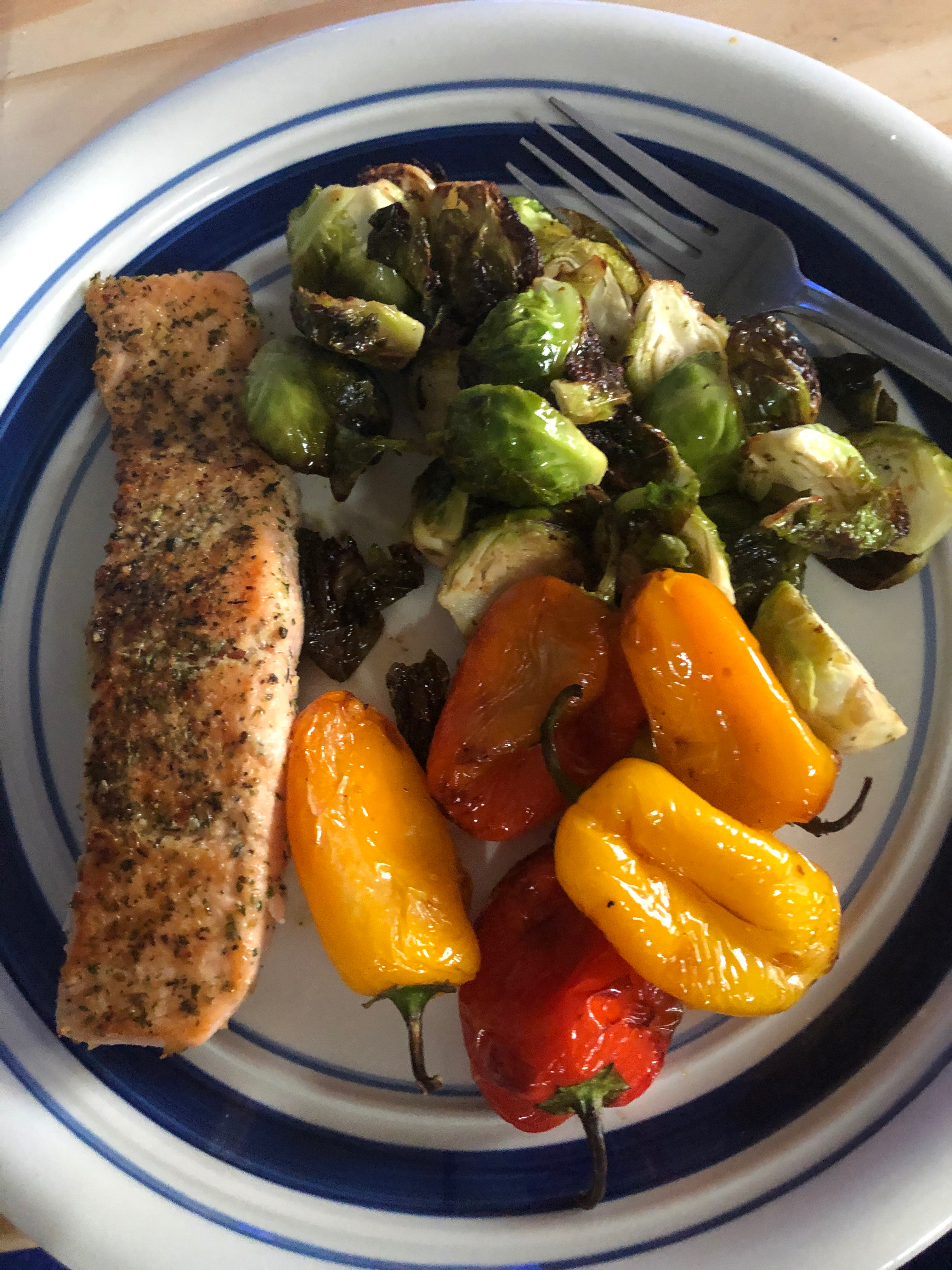 Salmon with brussel sprouts and peppers