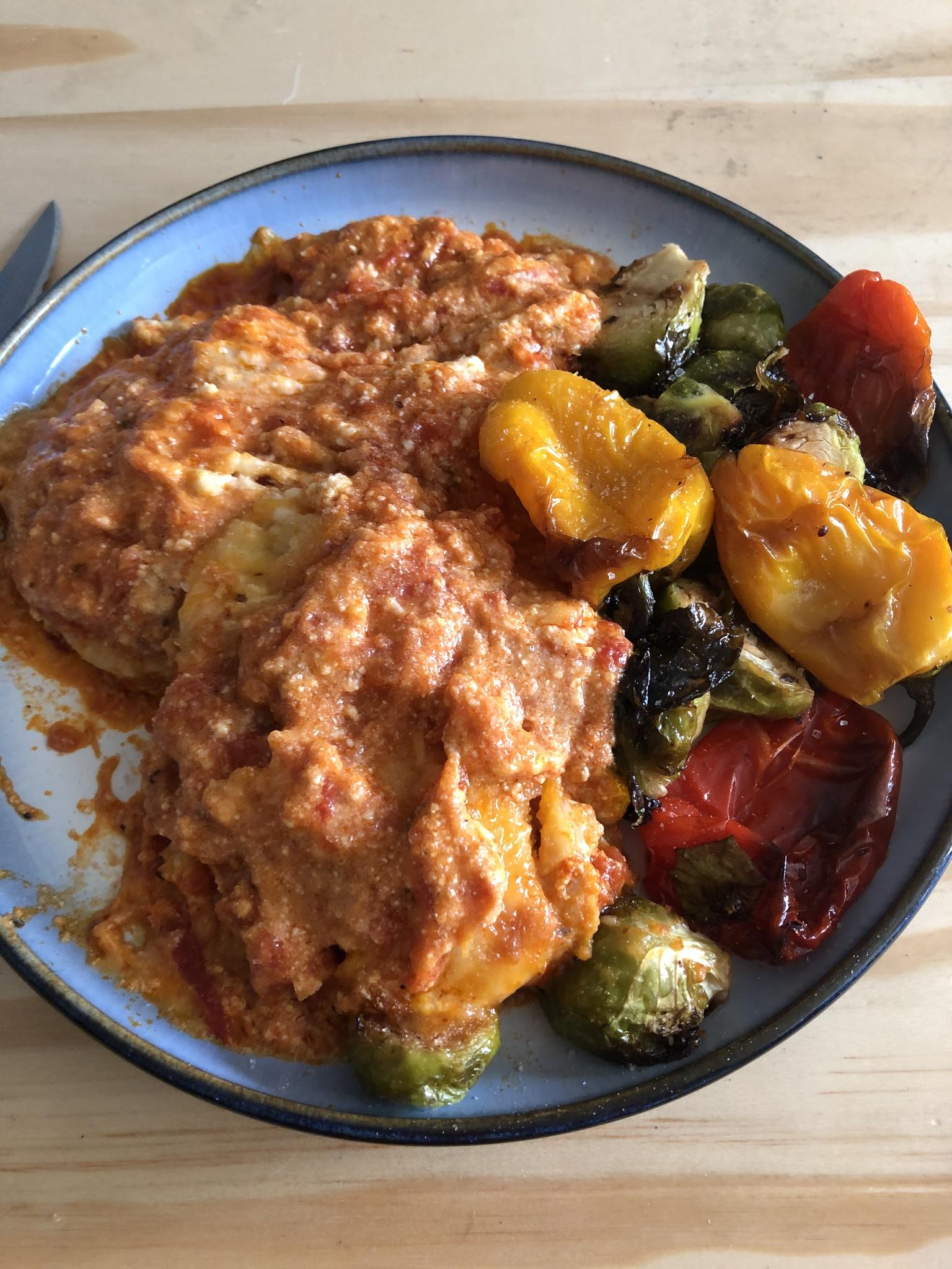 Chicken lasagna ans veggies